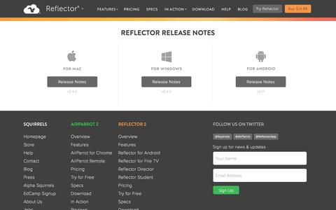Screenshot of airsquirrels.com - Release Notes for Reflector - captured March 20, 2016