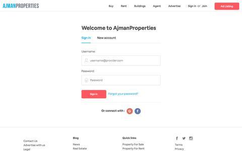 Screenshot of Login Page ajmanproperties.ae - Sign In :: AjmanProperties - captured Sept. 26, 2018
