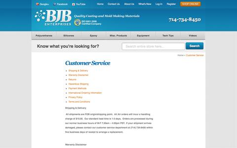 Screenshot of Support Page bjbenterprises.com - BJB Enterprises   Customer Service - captured Oct. 4, 2014