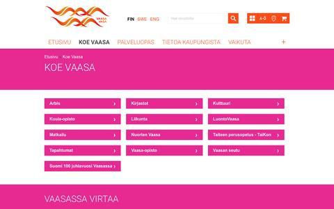 Screenshot of vaasa.fi - Koe Vaasa | Vaasan kaupunki - captured March 11, 2017