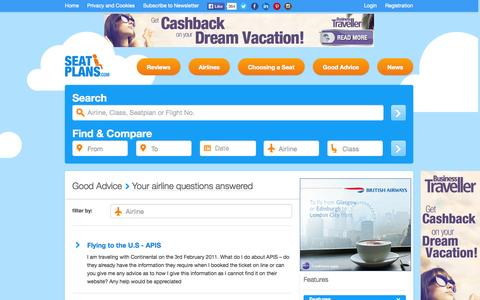 Screenshot of FAQ Page seatplans.com - Your airline questions answered | Seatplans.com - captured Oct. 26, 2014