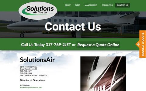 Screenshot of Contact Page solutionsair.com - Contact Us - Solutions Air : Solutions Air - captured Feb. 15, 2016