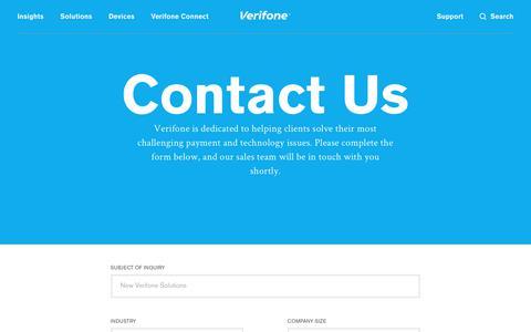 Screenshot of Contact Page verifone.com - Contact Us | Verifone.com - captured May 11, 2018