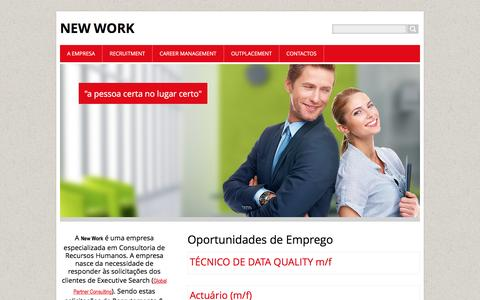 Screenshot of Home Page new-work-pt.eu - New Work (Recruitment, Training, Outsourcing, Career Management, Outplacement) - captured Feb. 14, 2016