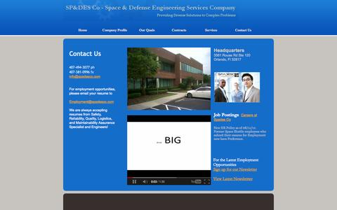 Screenshot of Contact Page spadesco.com - Contact Us- Space & Defense Engineering Services Company, LLC - captured Oct. 6, 2014
