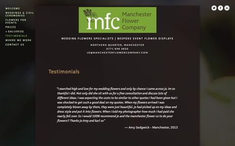 Screenshot of Testimonials Page manchesterflowercompany.com - Testimonials — Manchester Flower Company - captured Sept. 30, 2014