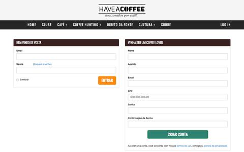 Screenshot of Login Page haveacoffee.com.br - Entrar - Have a Coffee - captured Sept. 27, 2015
