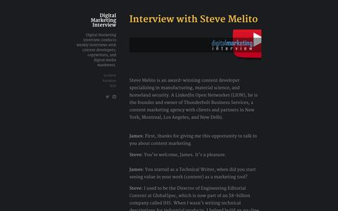 Screenshot of Home Page digitalmarketinginterview.com - Digital Marketing Interview - captured Sept. 30, 2014
