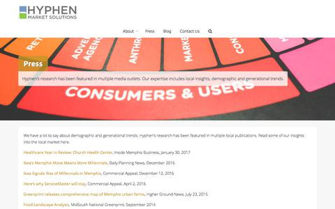 Screenshot of Press Page hyphenmarketsolutions.com - Press – Hyphen Market Solutions - captured July 23, 2018