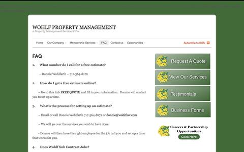 Screenshot of FAQ Page wohlfinv.com - WOHLF PROPERTY MANAGEMENT  |  FAQ - captured Oct. 9, 2014