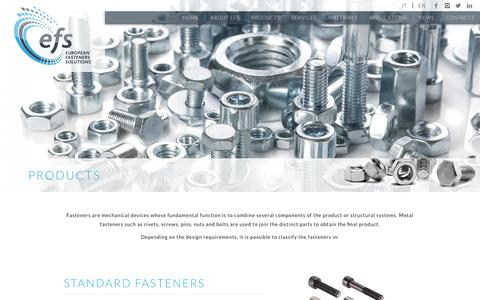 Screenshot of Products Page eufastenersol.com - Products | EFS - European Fasteners Solutions - captured Sept. 29, 2018