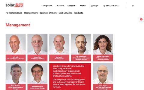 Screenshot of Team Page solaredge.com - Management | SolarEdge - captured Oct. 2, 2018