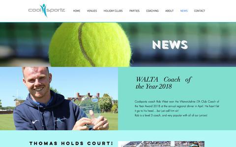 Screenshot of Press Page coolsportz.co.uk - Coolsportz, Warwickshire | NEWS - captured July 22, 2018