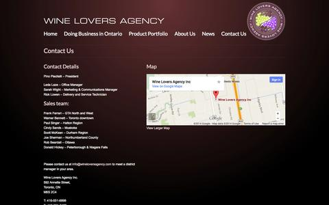 Screenshot of Contact Page wineloversagency.com - Contact Wine Lovers Agency - captured Oct. 26, 2014