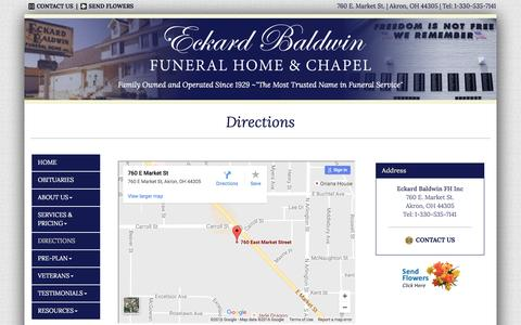 Screenshot of Maps & Directions Page eckardbaldwin.com - Eckard Baldwin FH Inc | Akron OH funeral home and cremation - captured Oct. 22, 2016