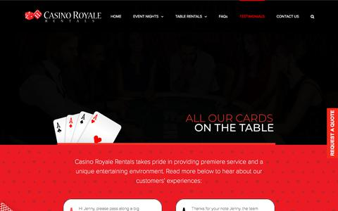 Screenshot of Testimonials Page casinoroyalerentals.com - Testimonials – casino royale rentals - captured July 16, 2018