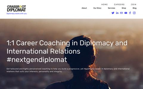 Screenshot of Services Page grassrootdiplomat.org - Career Coaching — Grassroot Diplomat - captured July 23, 2018