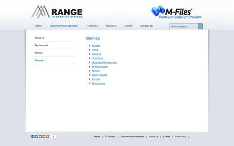 Screenshot of Site Map Page rangeis.com.au - Range Information Systems - Website Sitemap - Newcastle Hunter - captured Oct. 26, 2014
