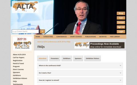 Screenshot of FAQ Page altamet.com.au - FAQs - ALTA Metallurgical Services - captured Oct. 2, 2018