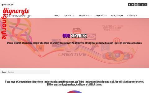 Screenshot of Services Page signoryle.com - Signoryle.com: web design services in Bangalore|  Digital Marketing Services In Bangalore - captured Feb. 22, 2016