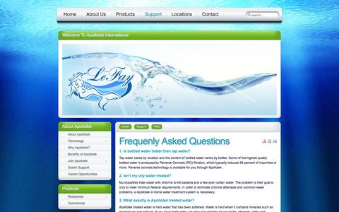 Screenshot of FAQ Page lefay.us - LeFay Water Purification - Frequenly Asked Questions - captured Jan. 27, 2016