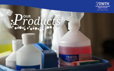 Screenshot of Products Page zhgplc.com - Products | Zenith Hygiene - captured Oct. 7, 2014