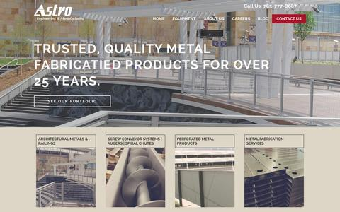 Screenshot of Home Page astroeng.com - Astro Engineering and Manufacturing | Metal Fabrication - captured Feb. 6, 2016