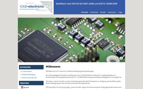 Screenshot of Home Page cad-electronic.de - Willkommen | CAD-electronic Landsberg - captured June 6, 2016