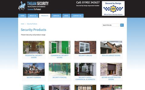 Screenshot of Products Page theamsecurity.com - Security Products | Theam Security - captured Oct. 20, 2018