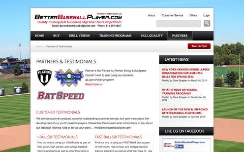 Screenshot of Testimonials Page myshopify.com - I-Ball and FAST-Ball Baseball Training Aid Testimonails   BetterBaseballPlayer.com - captured Sept. 18, 2014