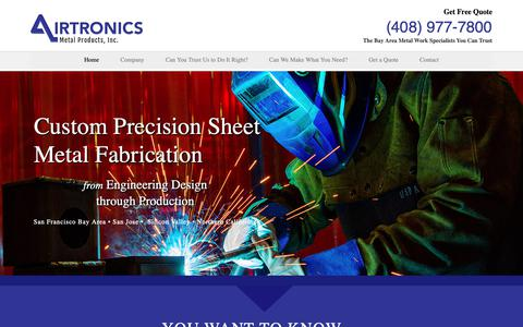 Screenshot of Home Page airtronics.com - Custom Precision Sheet Metal Fabrication - San Jose | Bay Area | Silicon Valley - captured Oct. 3, 2018