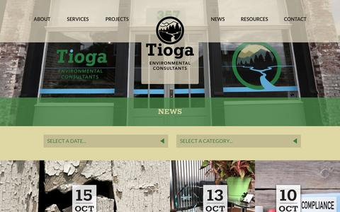 Screenshot of Press Page tiogaenv.com - News - Tioga Environmental Consultants - captured Oct. 20, 2018