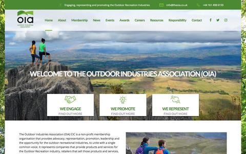 Screenshot of Home Page theoia.co.uk - Outdoor Industries Association (OIA) - Together We Are Stronger! - captured Jan. 15, 2018