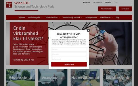 Screenshot of Home Page sciondtu.dk - Scion DTU | Erhvervsudlejning og iværksætterforløb - captured May 28, 2017