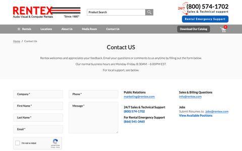Screenshot of Contact Page rentex.com - Contact Us - Rentex Computer & Audio Visual Rentals - captured June 19, 2019
