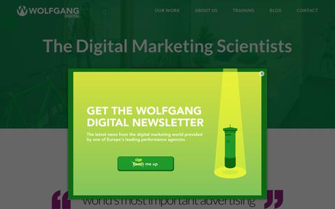Screenshot of Home Page wolfgangdigital.com - Wolfgang Digital | Best Search, Best Social & Agency of the Year 2018 - captured July 14, 2019