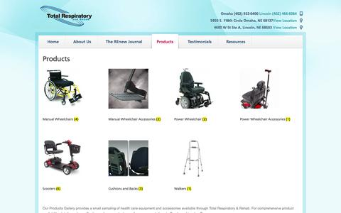 Screenshot of Products Page totalrespiratoryandrehab.com - Products | Total Care - captured Oct. 9, 2014