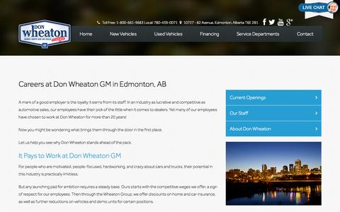 Screenshot of Jobs Page donwheaton.com - Why Choose a Career at Don Wheaton GM - captured Oct. 5, 2014