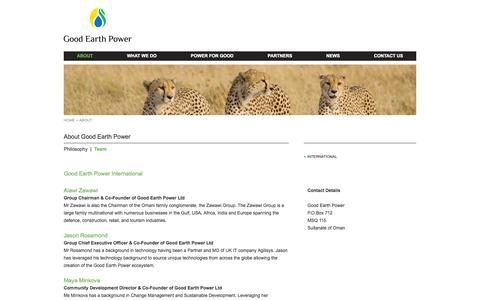 Screenshot of Team Page goodearthpower.com - Good Earth Power - captured Sept. 30, 2014
