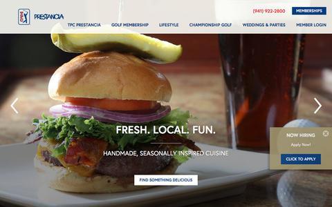 Screenshot of Home Page tpcprestancia.com - Championship Golf Course in Sarasota, FL - captured Feb. 23, 2018