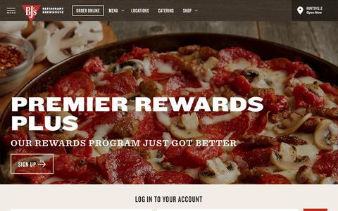 Screenshot of Login Page bjsrestaurants.com - Rewards   BJ's Restaurants and Brewhouse - captured Sept. 22, 2018