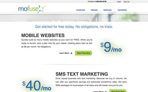 Screenshot of Pricing Page mofuse.com - Mobile Web Pricing - MoFuse, Inc. - captured Sept. 16, 2014