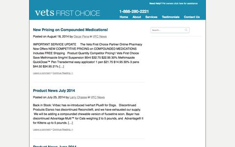 Screenshot of Press Page vetsfirstchoice.com - Blog | Vets First Choice  |  Your Pharmacy. Your Clients. Your Success. - captured Sept. 15, 2014