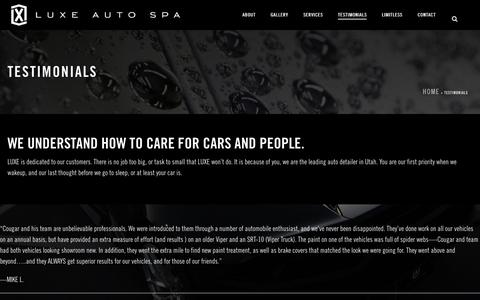 Screenshot of Testimonials Page luxeautospa.com - Testimonials | Luxe Auto Spa - captured July 14, 2018