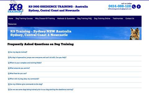Screenshot of FAQ Page dogobedience.com.au - Dog Training Faq | Newcastle Dog Training | Dog Training - captured Jan. 30, 2018