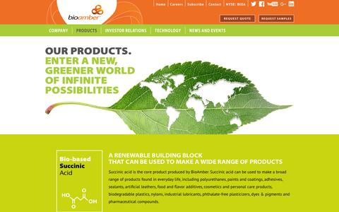 Screenshot of Products Page bio-amber.com - BioAmber Products | Bio-Succinic Acid (Bio-SA™), Bio-1,4-Butanediol (Bio-BDO), Bio-Disodium Succinate (Bio-DSS™) - captured Dec. 3, 2015