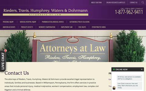 Screenshot of Contact Page riederstravis.com - Contact Us - Rieders, Travis, Humphrey, Waters & Dohrmann - captured Sept. 20, 2019