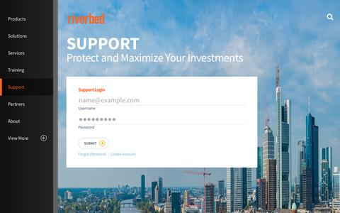 Screenshot of Support Page riverbed.com - Riverbed Support – Riverbed Help Overview | Riverbed - captured March 1, 2018