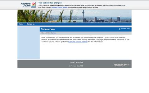Screenshot of Terms Page aucklandcity.govt.nz - Terms of use - captured Sept. 25, 2014