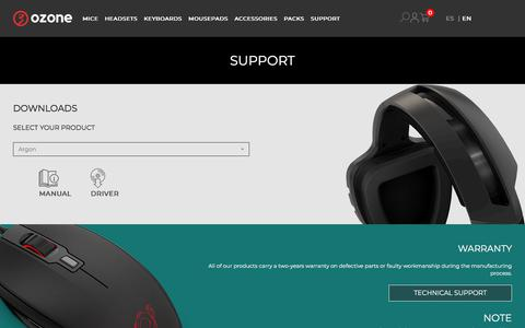 Screenshot of Support Page ozonegaming.com - Support - Ozone Gaming - captured Sept. 25, 2018